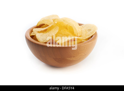 A bowl of salted crisps on a white background. - Stock Photo