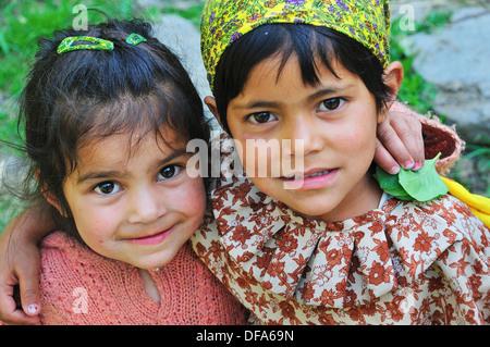 Village little girls in Old Manali. Manali, Himachal Pradesh, India - Stock Photo