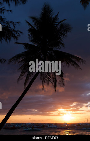 Yellow sunset on Island Boracay, Philippines  - Stock Photo