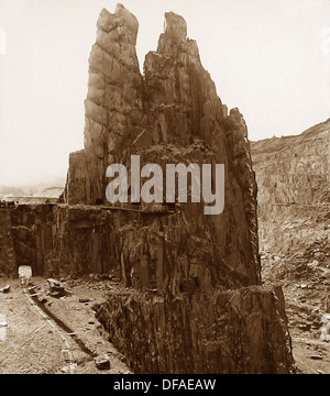 Penrhyn Slate Quarry near Bethesda Victorian period - Stock Photo