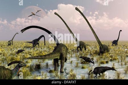 Duckbill & Sauropod Dinosaurs Feeding Together. - Stock Photo