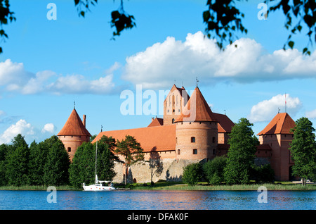 Trakai castle (Traku pilis) in Lithuania, Vilnius, Trakai castle in Lithuania in spring time, Island castle in Trakai - Stock Photo