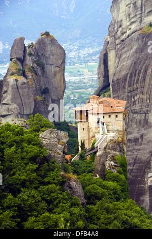 The monastery Moni Agias Varvaras Rousanou in the Meteora region of Greece. - Stock Photo