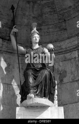 Figure of a Roman emperor at the Capitol in Rome - Stock Photo