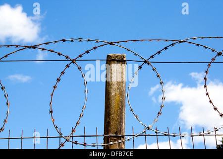 Closeup of coiled razor sharp barbed wire and concrete pole - Stock Photo