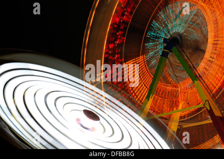 Lights of Evergreen State Fair in Puyallup WA - Stock Photo