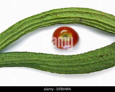 Gisuri, Dodka, Loofa Acutangula, Cucumis acutangulus L & Tomato - Stock Photo