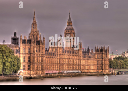 The Houses of Parliament and River Thames, London, England - Stock Photo