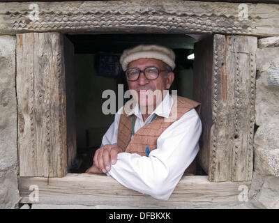 Portrait of the caretaker of the Baltit Fort in the Hunza Valley of Pakistan - Stock Photo