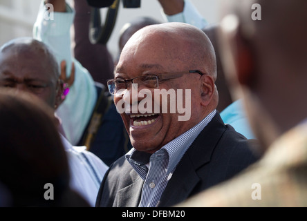 South African President Jacob Zuma arrives a voting station near his Nkandla homestead during Municpal Elections - Stock Photo