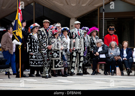 The Pearly Kings and Queens Society Costermongers Harvest Festival, London, England - Stock Photo
