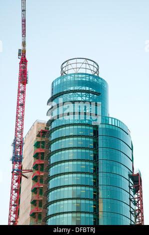 El Corte Inglés tower under construction, AZCA. Madrid, Spain. - Stock Photo