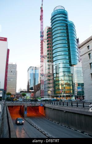El Corte Inglés building under construction, AZCA. Madrid, Spain. - Stock Photo