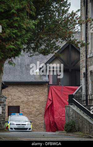 Aberystwyth, Wales, UK . 02nd Oct, 2013. An elderly woman , believed to be in her 70's, has died in a fire at her - Stock Photo