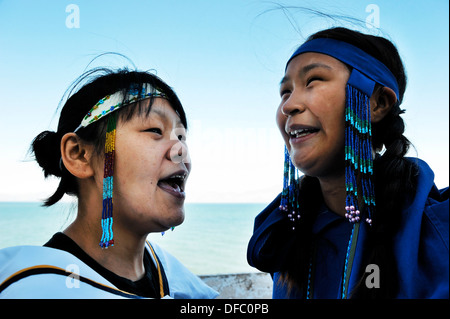 Inuit women singing Inuit songs, Pond Inlet village, Baffin Island, Nunavut, Canada - Stock Photo