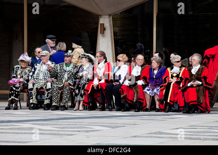 The Pearly Kings and Queens and London Mayors, Harvest Festival, London, England - Stock Photo