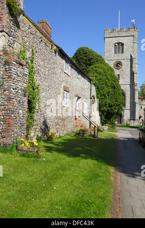 St Peter and St Paul church by the ruins of the old Archbishop's Palace, Charing, Kent, UK - Stock Photo