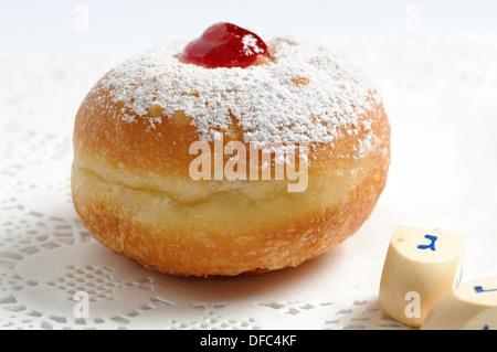 Hanukkah donut   - sweet food - Stock Photo