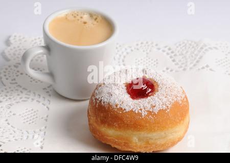 Hanukkah donut   and coffee - Stock Photo