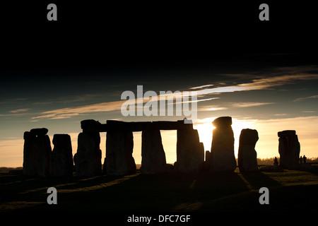 Stonehenge at sunset in Wiltshire, England. - Stock Photo