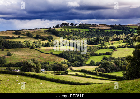 A stormy, showery summer's day in the Brecon Beacons National Park, Wales. - Stock Photo