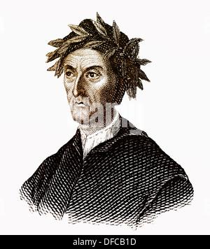 Portrait of Dante Alighieri, 1265 - 1321, an Italian poet and philosopher - Stock Photo