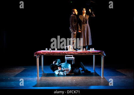 London, UK - 2 October 2013: performers of the Bolivian company Teatro de los Andes transpose Hamlet to Bolivia - Stock Photo