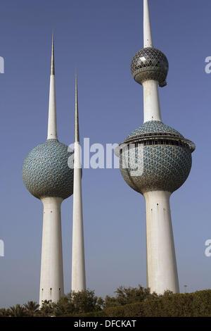 Kuwait Towers, Kuwait city, Kuwait - Stock Photo