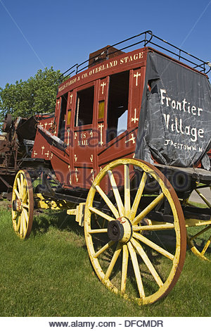 Wagon in Frontier Village, Jamestown, North Dakota, USA - Stock Photo