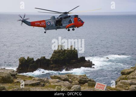 Royal Navy Rescue helicopter. Land´s End. Penn an Wlas. Cornwall. England. UK. - Stock Photo