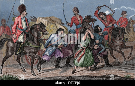 Russian Empire. 18th century. Russian serfs on the Don, river of Russia. Colored engraving. - Stock Photo