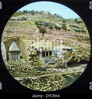 Jerusalem Valley of Jehoshaphat probably 1870s - Stock Photo
