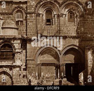 Jerusalem Church of the Holy Sepulchre probably 1870s - Stock Photo