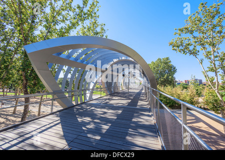 Famous Arganzuela Bridge in Madrid Rio Park, Madrid, Spain - Stock Photo