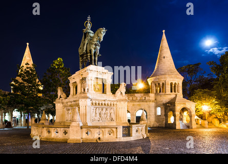 Equestrian statue and monument of Saint Stephen, erected in 1906 by architect Frigyes Schulek in Budapest, Hungary - Stock Photo