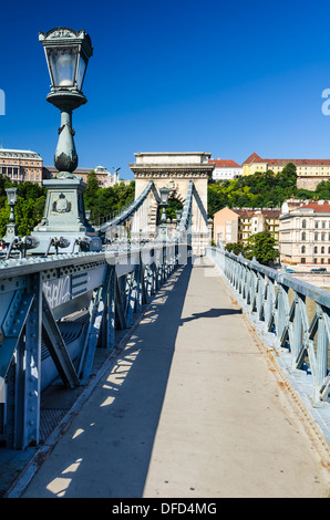 Chain Bridge, Szechenyi or Lanchid, was the first permanent stone-bridge in Budapest, Hungary, over Danube river - Stock Photo