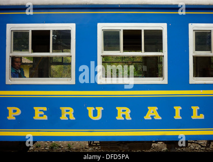 Peru Rail logo on a carriage of the Expedition train from Ollantaytambo to Aguas Calientes (Machu Picchu), in the - Stock Photo