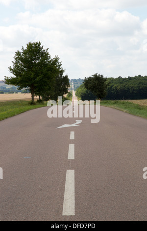 Long, Straight Road, Burgundy, France D951 near Vezelay - Stock Photo