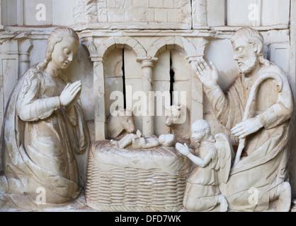 Nativity Scene Sculpture in Relief - Stock Photo