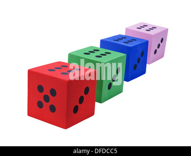 Сolors of luck. Multicolor foam dice isolated on white background - Stock Photo