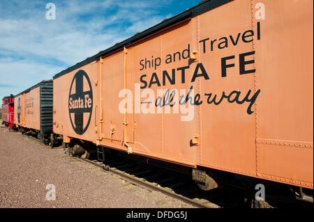 Needles, California - Antique rail cars of the famous Santa Fe railroad on display in Needles California - Stock Photo