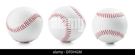 three baseball ball on a white background