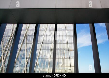 View of buildings in Diagonal from the pool floor in a hotel, Barcelona, Catalonia, Spain - Stock Photo