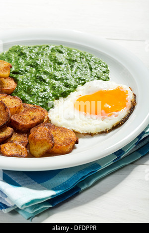 Spinach with fried egg and roasted potatoes, close up - Stock Photo
