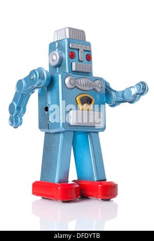Tin robot isolated on a white background. - Stock Photo
