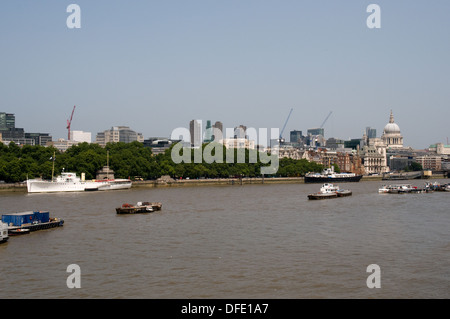 A view from Waterloo Bridge towards the city of London. St Paul's cathedral is on the right. - Stock Photo