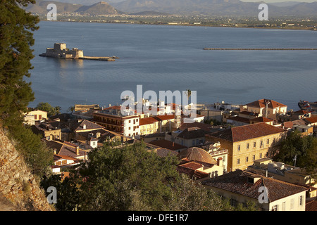 Nafplion with Fort Bourdzi in background. Argolis, Peloponnese. Greece - Stock Photo