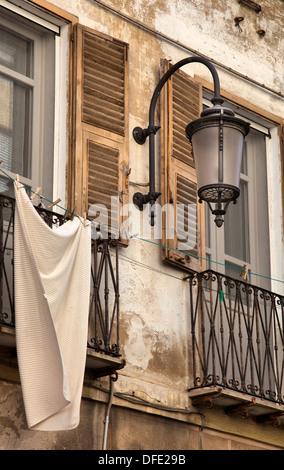 Sardinian Street Facade with Lamppost - Stock Photo