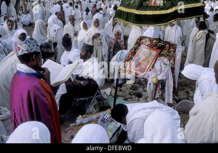 Pilgrims during Easter Sunday at new cathedral. Aksum, province of Tigray. Ethiopia - Stock Photo