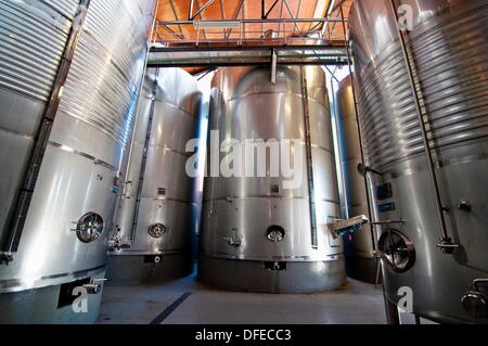 Hall for Wine Production in Enate winery  Barbastro  Somontano  Huesca  Spain - Stock Photo